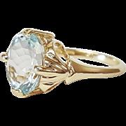 14 Karat Yellow Gold Aquamarine Ring