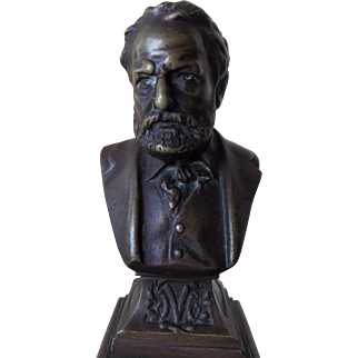 Small 19th Century Bronze Library Bust Of Victor Hugo