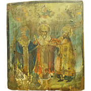 Antique Russian Painting On Wood Panel Icon