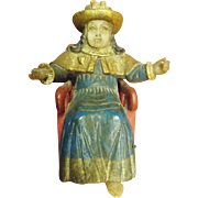 Carved & Painted Seated Santos With Wax Face