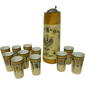 Mettlach Pokal And Tumblers With Coats Of Arms