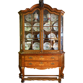 19th Century Continental Marquetry Cabinet With Glazed Top