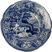 Staffordshire Dark Blue Transferware Cup-plate