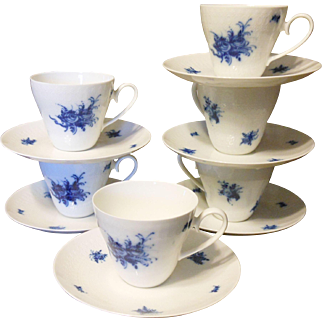 "Six Rosenthal Porcelain ""Rhapsody'' Cups & Saucers"