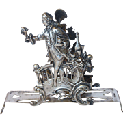 Elaborate Figural 800 Silver Toast Or Letter Rack