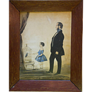 Primitive Watercolor Portrait Of A Man & Girl With Bird