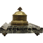 Antique Marble And Bronze Ink Stand