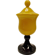 Czech Yellow Cased And Black Glass Jar