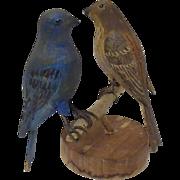 Carved & Painted Folk Art Bluebird & Sparrow