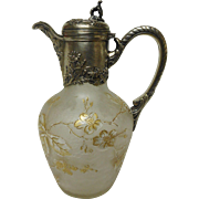 Verrerie Sevres Cameo Glass Ewer With Floral Silver Mounts