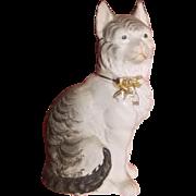 Antique Staffordshire Painted Parian Cat Figure