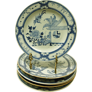 6 Antique Chinese Export Blue & White Porcelain Plates