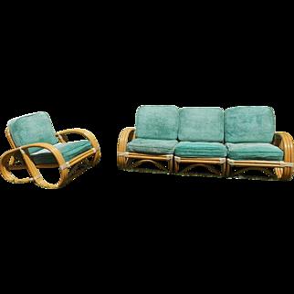 "Paul Frankl ""Pretzel"" Rattan Sofa And Armchair"