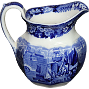 Vintage Wedgwood Transferware Blue Ferrara Cream Pitcher