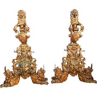 Large Pair of Antique Cast Brass Renaissance Revival Decorative Chenets Andirons
