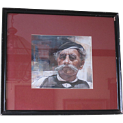 Vintage Oil on Canvas Portrait Painting of an Old Gentleman by Linford Donovan