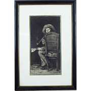 Antique William Merritt Chase 1875 Lithograph of Man Smoking Pipe