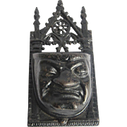 Antique Match Holders, Victorian Cast Iron Grumpy Face Match Holder