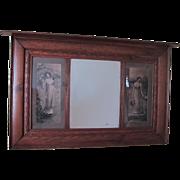 Large Antique Art Nouveau Decor Wall Mirror w/ Lithographs