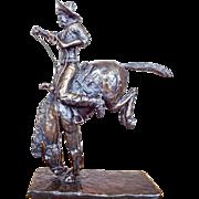Vintage Bronze Horse & Cowboy Figurine Statue by Millar 188/200 1980