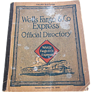 1916 Official Employee Directory for Wells Fargo