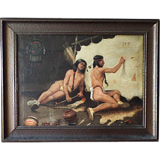 Antique Carl (Karl) Moon Oil Painting on Canvas of Native American Indians