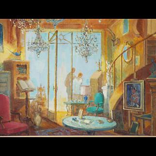 """Vintage Original Signed French Gustav Nebel Oil Painting """"Antique Shop"""""""