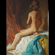 Vintage Original Signed Redmond Stevens Wright Seated Nude Oil Painting