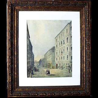 Signed Johann Wilhelm Frey Austrian Street Scene Watercolor Painting