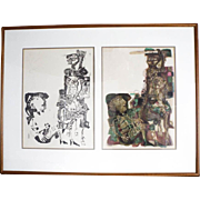 Original Edward Grant Swayze Abstract Figural Signed Prints Plates