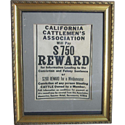 Vintage Framed California Cattlemen's Association Reward Poster Canvas