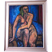 Mid Century Oil on Linen Nude Painting by Beatrice Roitman Metrick