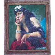 Large Vintage Oil On Canvas Portrait Painting of Lady in a Boa 1930's