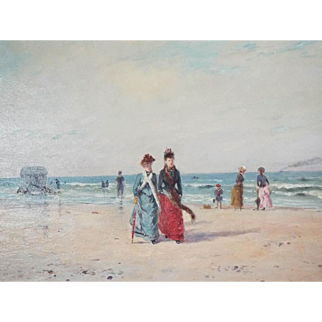 Antique French Signed Oil Painting of Beach Scene by Paul Rossert, Paris