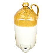 Antique English Fulham Pottery Stoneware 1 Gallon Crock Jug, H Inwood Grocer Luton