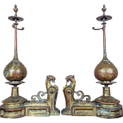 Antique Art Deco French Brass Chants Panther Cat Andirons