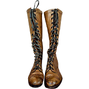 Antique Victorian Long Brown Leather Vintage Boots