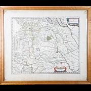 Antique 1600s Framed Map Signoria di Vercelli Italy