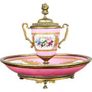 Antique Sevres Style French Pink Porcelain and Ormolu Decorative Desk Inkwell