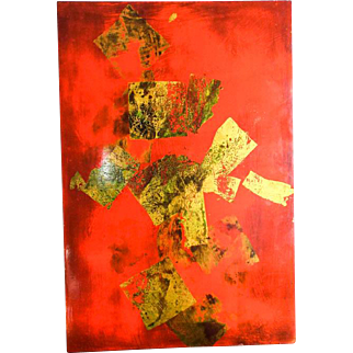 "Vintage Original Igor de Kansky Abstract Art Lacquer Painting ~ 24"" by 16"""
