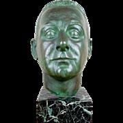 Vintage Signed Bronze Head Male Bust Sculptur by Nadia Scarpitta Nadia Yarotsky (1897-1997)