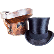 Antique Victorian Youmans Top Hat Opera Hat w/ Original Leather Case