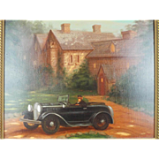 Original Signed Richard Lithgow Oil Painting of Chimp Driving 32 V8 Roadster