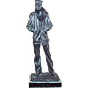 Signed S Sleifeld Bronze Sculpture ~ Lone Sailor USN Award for Eddie Albert