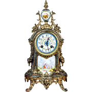 19th C French Louis XV  Sevres Style Vincenti Metal & Porcelain Mantel Clock