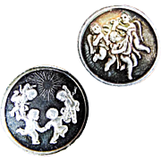 Vintage Pair of Alex Shagin Silver Decorative Medallions