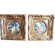 Antique 19th C Framed Miniature Scenic Paintings After Boucher