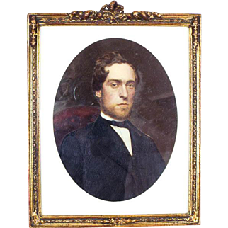 Antique 19th C Framed Miniature Oil Portrait Painting of Gentleman Over Tintype