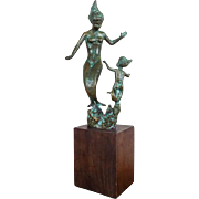 Vintage Bronze Female Mermaids Sculpture