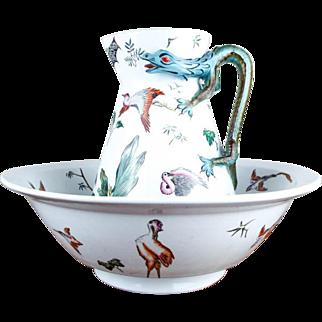 Antique British Porcelain Pottery George Jones Majolica Wash Basin & Pitcher